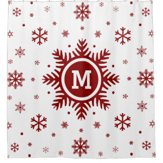 Monogram Snowflake Christmas Shower Curtain