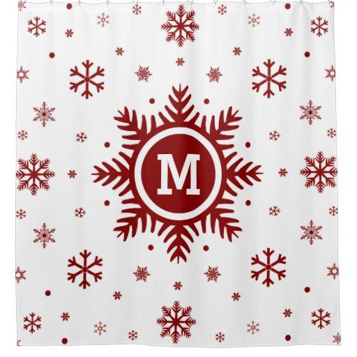 Monogram snowflake christmas shower curtain zazzle