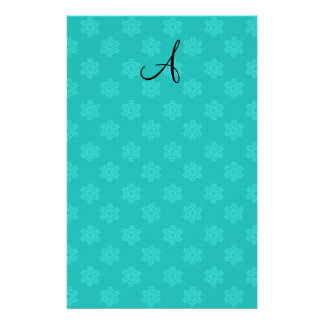 Monogram snowflakes turquoise pattern stationery design