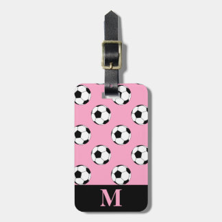 Monogram Soccer Football Balls, Carnation Pink Tag For Luggage