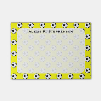 Monogram Soccer Futbol Balls Yellow Post-it® Notes