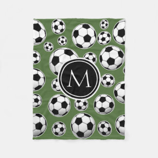 Monogram Soccer - Tree Top Fleece Blanket