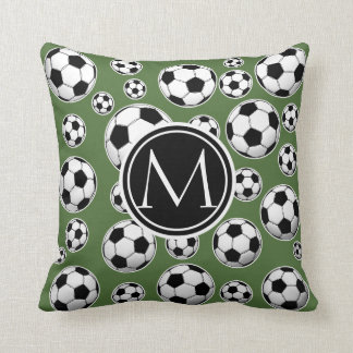 Monogram Soccer - Tree Top Throw Pillow