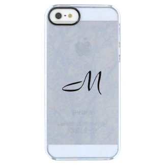 Monogram Soft Blue Tint Rowan Clear iPhone SE/5/5s Case