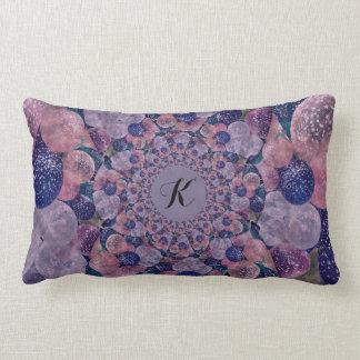 Monogram Soft Pink, Purple And Blue Balloons Lumbar Pillow