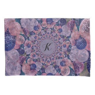 Monogram Soft Pink, Purple And Blue Balloons Pillow Case