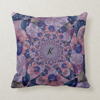 Monogram Soft Pink, Purple And Blue Balloons Throw Pillow