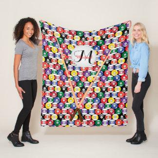 Monogram Solid and Stripe Billiards Ball Pattern Fleece Blanket