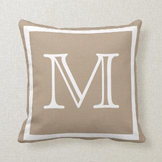 MONOGRAM Solid beige  Tan taupe plain pillow