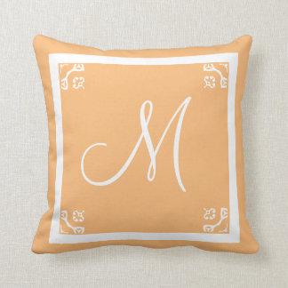 MONOGRAM solid light peach personalized custom Throw Pillow