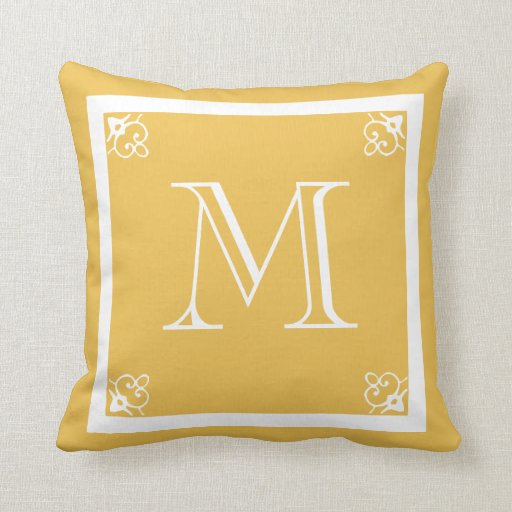 MONOGRAM solid mustard yellow custom Throw Pillow Zazzle