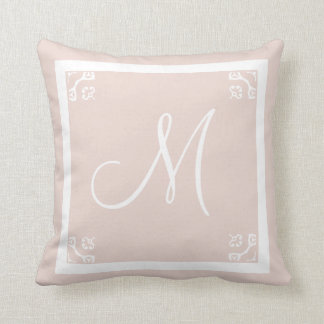 MONOGRAM solid pale pink personalized custom Pillow