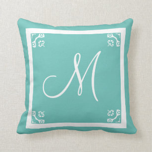 Monogram Solid Powder Blue Personalized Custom Throw Pillow