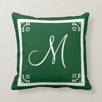 MONOGRAM solid spruce green personalized custom Throw Pillow