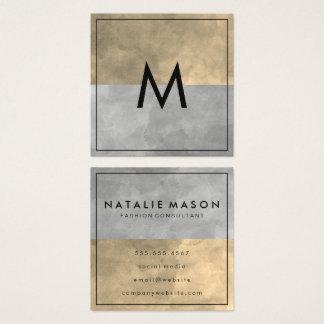 Monogram Sophisticated Sepia Gray Color Blocks Square Business Card