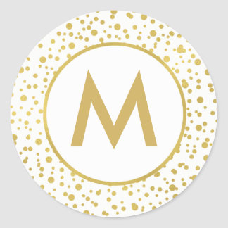 Monogram Sparkly Gold Confetti Envelope Seal