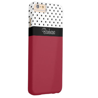 Monogram Spicy Red, Black White Dots Color Block Barely There iPhone 6 Plus Case