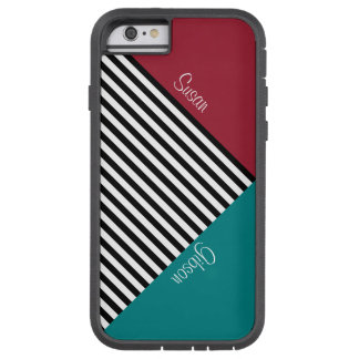 Monogram Spicy Red, Teal Blue, Black White Stripes Tough Xtreme iPhone 6 Case