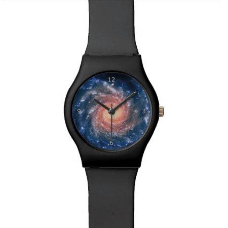 Monogram, Spiral Galaxy deep space astronomy imag Watch