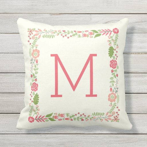 Monogram spring floral border coral modern peach throw pillow