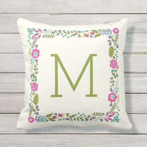 Monogram spring floral border modern aqua, pink outdoor pillow
