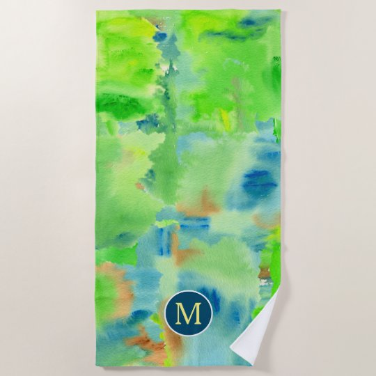 Monogram Spring Forest Abstract Watercolor Collage Beach Towel