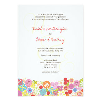 Monogram Spring Summer Flowers Wedding Invitation