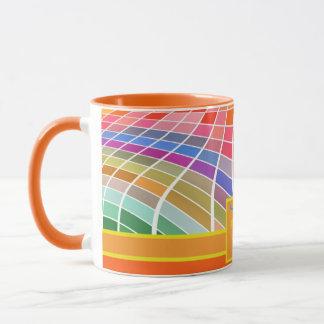 Monogram Square Tiles Curved Surface Orange Mug
