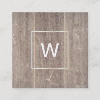 Monogram Square Wood Panel Square Business Card