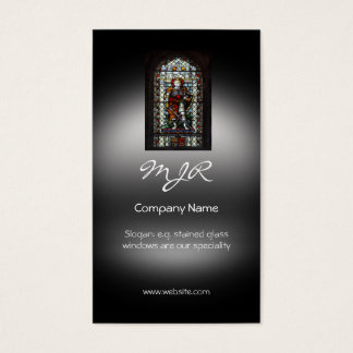 Monogram, Stained Glass Window, metallic-effect Business Card