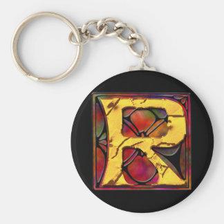 Monogram: Stainglass R Basic Round Button Keychain