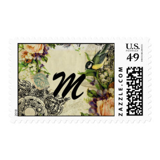 Monogram Stamp Yellow Song Bird Cage Floral