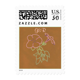 Monogram Stamps Wedding, Morning Glories