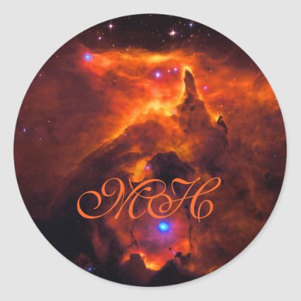 Monogram, Star Cluster Pismis 24, core of NGC 6357 Classic Round Sticker