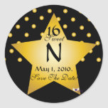 Monogram Star S-16 Polka Dots Save The Date -Cust. Stickers