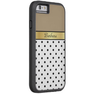 Monogram Starfish Brown, White & Black Polka Dots Tough Xtreme iPhone 6 Case