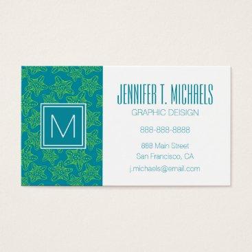 Beach Themed Monogram Starfish Crowd Pattern Business Card