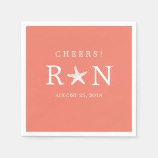 Monogram Starfish | Wedding Paper Napkin