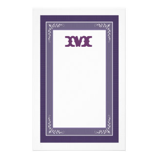 MONOGRAM Stationery with Ornate Frame- PERIWINKLE