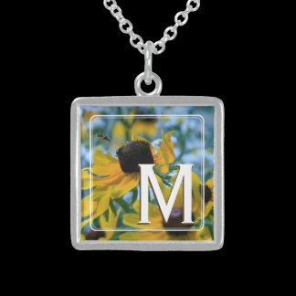 Monogram Stay Focused Yellow Daisies Custom Sterling Silver Necklace