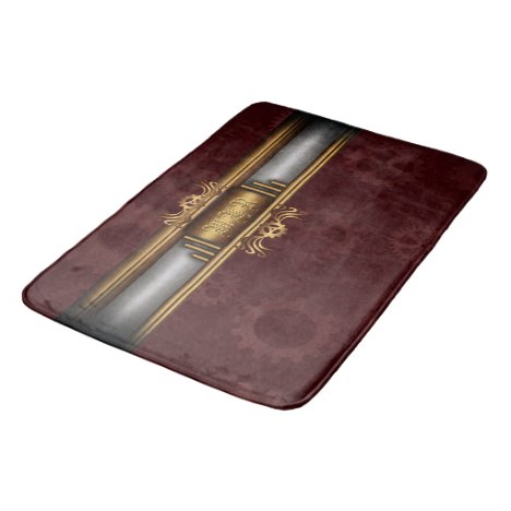 Monogram Steampunk Art Deco fusion, brass, maroon Bathroom Mat