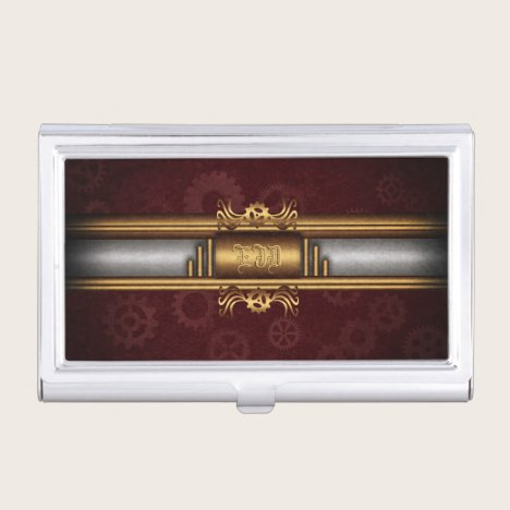 Monogram Steampunk Art Deco fusion, brass, maroon Business Card Case