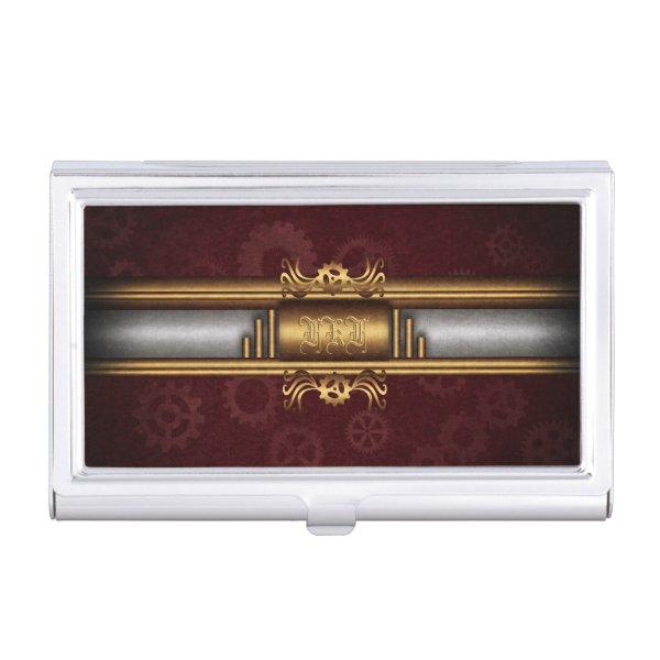 Monogram Steampunk Art Deco fusion, brass, maroon Business Card Case