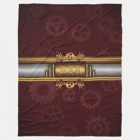 Monogram Steampunk Art Deco fusion, brass, maroon Fleece Blanket