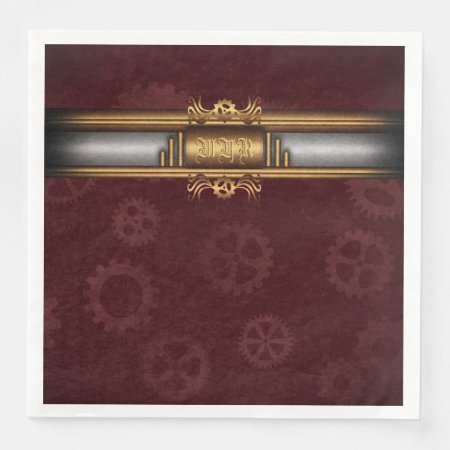 Monogram Steampunk Art Deco fusion, brass, maroon Paper Dinner Napkin