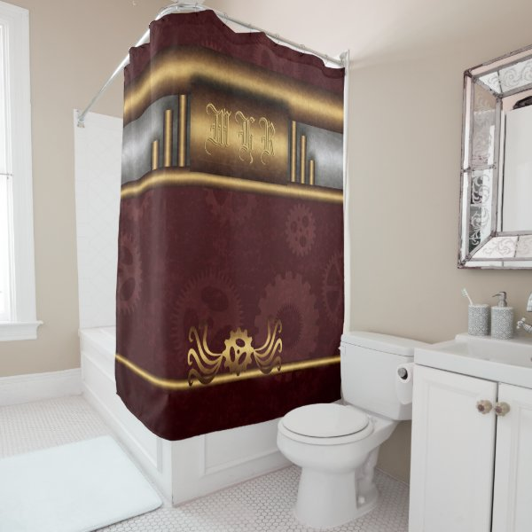 Monogram Steampunk Art Deco fusion, brass, maroon Shower Curtain