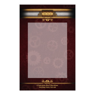 Monogram Steampunk Art Deco fusion, brass, maroon Stationery