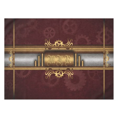 Monogram Steampunk Art Deco fusion, brass, maroon Tablecloth