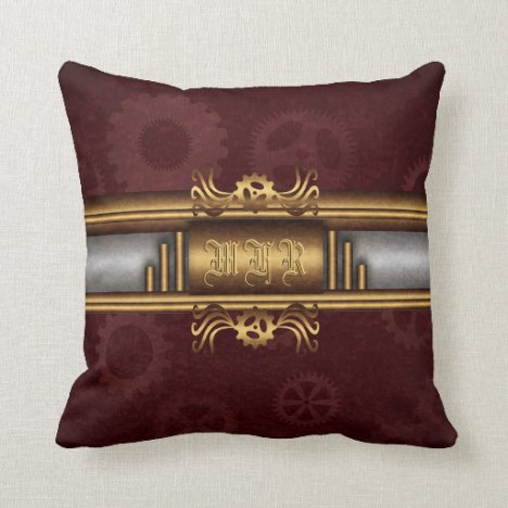 Monogram Steampunk Art Deco fusion, brass, maroon Throw Pillow