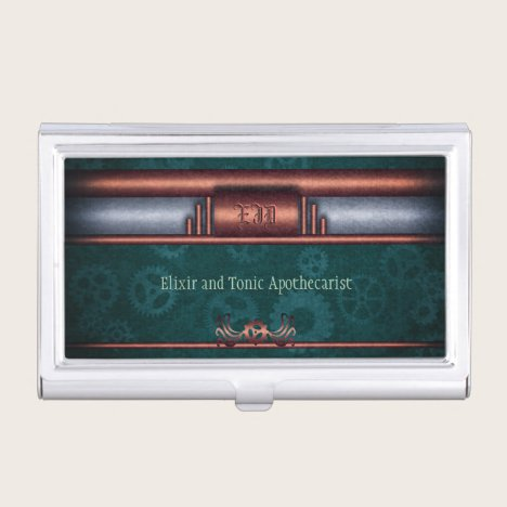 Monogram, Steampunk Art Deco twist, copper teal Business Card Holder